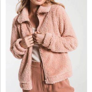 Z Supply Sherpa Teddy Jacket Medium Rose Pink
